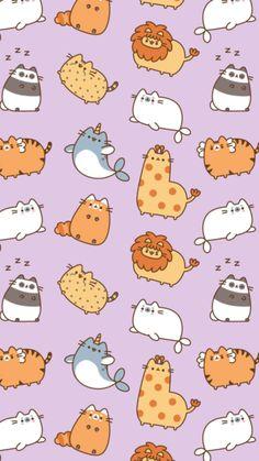 """(Von der p … – …, Cranberrycakes: """"Pusheen Wallpaper! Wallpaper Gatos, Cats Wallpaper, Kawaii Wallpaper, Trendy Wallpaper, Animal Wallpaper, Pattern Wallpaper, Kawaii Drawings, Cute Drawings, Chat Wallpaper Whatsapp"""