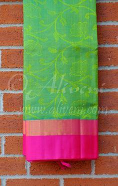 Green Double Shaded Kuppadam Saree with Pink/Zari Border