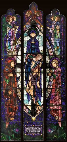 The Mother of Sorrows, Memorial to Sister Superior Mary of Saint Wilfrid, Principal of Dowanhill Training College, Glasgow, 1926 Stained Glass Church, Stained Glass Art, Stained Glass Windows, Harry Clarke, Glasgow, Art Nouveau Illustration, Irish Art, Albrecht Durer, Catholic Art