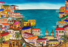 pintura City Folk, Urban Sketchers, Canvas Prints, Art Prints, Arte Pop, Naive, Mosaic Art, Love Art, Arts And Crafts