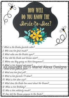 Bride to Bee Themed Bridal Shower Game How well do you know the bride theme by TheBrandedBangle