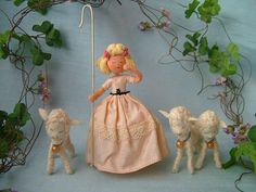 Vtg Baps Little Bo Peep Sheep Nursery Rhyme Felt Dollhouse Doll German Miniature | eBay