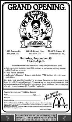 Vintage Toledo TV - Other Vintage Print Ads - Grand Opening...McDonalds Playland... (Thu 9/23/82 ad)