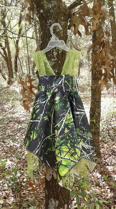 Made with New Moonshine Blue & Green satin Camo fabric Lace