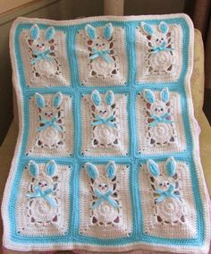 This is only the pattern, not the finished afghan I made the diagram for stitch placement myself You can modify this bunny blanket any way you want You can change the colors and or size Instead of 16 bunnies you can make 9 bunnies for a bassinet Have fun! This is a pattern from 1994 which I cant can seem to find in publication.