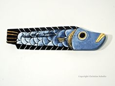 Yellow Fish Reclaimed Wood Decor Original Folk Art by TaylorArts