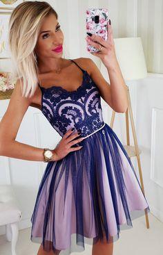 Sukienka na ramiączkach granatowo-różowa 2186-11 Elegant, Womens Fashion, Dresses, Vestidos, Classy, Women's Fashion, Dress, Woman Fashion, Gown