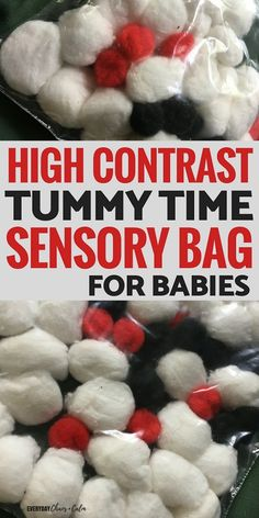 High Contrast Tummy Time Sensory Bag for Babies - baby sensory play - neugeborene Baby Sensory Bags, Infant Sensory Activities, Baby Sensory Play, Baby Play, Sensory Bins, Sensory For Babies, Baby Sensory Ideas 3 Months, Activities For Babies, Childcare Activities