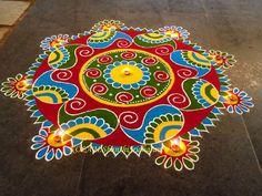 Rangoli Designs Latest, Simple Rangoli Designs Images, Rangoli Designs Flower, Rangoli Border Designs, Colorful Rangoli Designs, Rangoli Designs Diwali, Kolam Rangoli, Beautiful Rangoli Designs, Kolam Designs