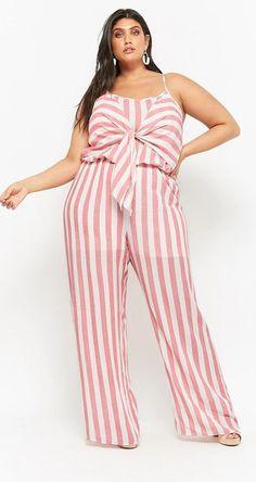 Plus Size Striped Tie-Front Jumpsuit