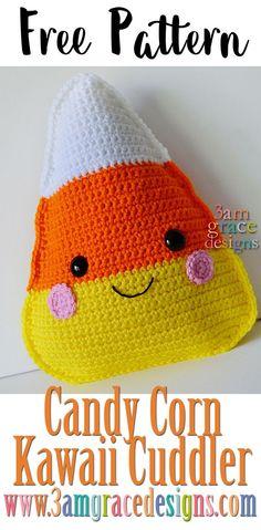 FREE Candy Corn amigurumi crochet pattern kawaii cuddler halloween