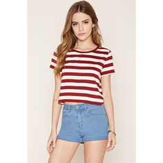Forever 21 Women's  Striped T-Shirt ($6.90) ❤ liked on Polyvore featuring tops, t-shirts, short sleeve tops, stripe tee, round neck t shirt, forever 21 and forever 21 tee