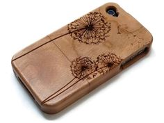 Iphone 4 case / iphone 4S case wood - wood Iphone 4 case bamboo, cherry and walnut wood - Dandelion - laser engraved