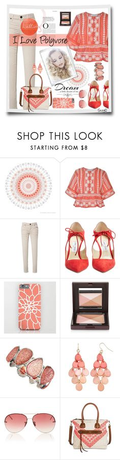 """Coral Collection"" by polyvore-suzyq ❤ liked on Polyvore featuring WALL, Rachel Zoe, Paul Frank, Jimmy Choo, Laura Mercier, Seasons Jewelry, Linda Farrow and Love Quotes Scarves"