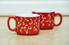 Hand Painted Ceramic Coffee Mugs - Tea cups - White and Red hot chocolate mugs - Christmas gift