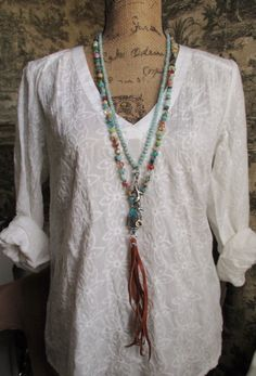 Knotted multi color long necklace BeachComber semi by slashKnots