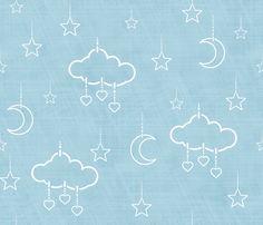 douce nuit bleu clair fabric by un_temps_de_coton on Spoonflower - custom fabric