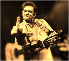 Famous Johnny Cash middle finger shot