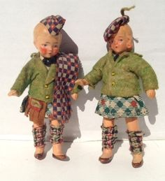 "Antique German Dollhouse Dolls - Vintage Composition 4"" Doll in Scottish Outfit"
