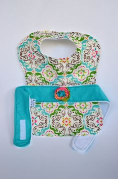 Baby Girl Less Mess Apron Bib  multi-colored / fabric by EagerBaby