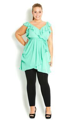 City Chic - PRETTY RUFFLE TUNIC - Women's plus size fashion