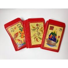 Example - Chinese Red Envelopes in Colors - Pack of 50 in 3 Designs - Series 1 Price: $7.99 (Amazon) - Need variety of red envelopes (size and designs) to hang by string/fishing line at various lengths in front of daytime red backdrop
