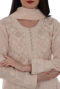 Champagne Chikankari With Kamdaani Anarkali Pure Georgette Suit Neck Designs For Suits, Neckline Designs, Dress Neck Designs, Designs For Dresses, Blouse Designs, Simple Kurta Designs, Kurta Designs Women, Salwar Designs, Designer Dress For Men
