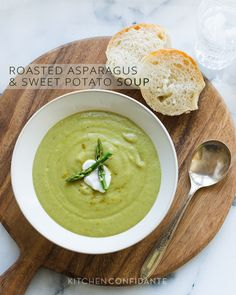Roasted Asparagus and Sweet Potato Soup | Kitchen Confidante