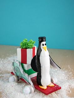 Handmade Pull-Along Bottle Penguins   The magic of soda bottle crafts is just about as enchanting as the beautiful holiday season itself.