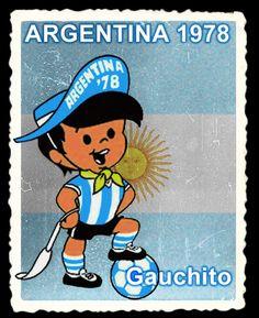 Gauchito fue la mascota del a Copa Mundial de Fútbol Argentina 1978. Su nombre oficial fue Mundialito, pero la afición lo rebautizó por los distintos elementos propios del gaucho, como son el sombrero, el pañuelo y el talero que sujeta en su mano derecha. Además de lo anterior viste el uniforme albiceleste de la selección anfitriona y en el interior del ala de su sombrero vemos escrito: Argentina 78. Fue una creación de Hugo Casaglia. Football Jerseys, Football Players, Fifa, World Cup Logo, Team Mascots, Great Logos, Gaucho, Sports Logo, Logo Nasa