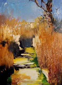Path through the Winter Grasses Study wm:yupo 12x9, Randall David Tipton