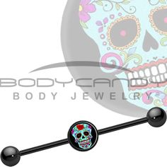 Blue Sugar Skull Industrial Barbell #piercing #bodycandy #halloween
