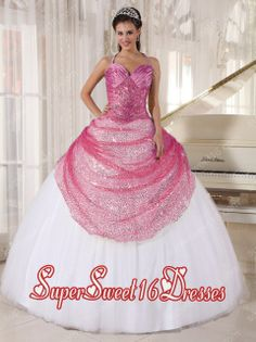 Rose Pink and White Spaghetti Straps 2013 Sweet 16 Dresses with Appliques