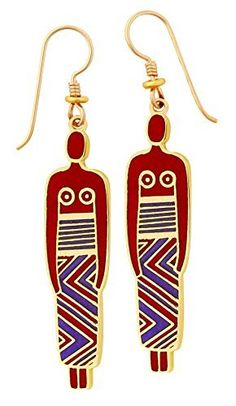 LAUREL BURCH red and purple Chinese Women drop earrings in gold from Studio Totemic™