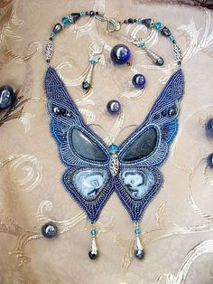 Beaded embroidered necklace This is so beautiful I wish I could have the patience to do this.