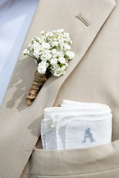 For the groom. Love the babies breath and the #pocketsquare #wedding