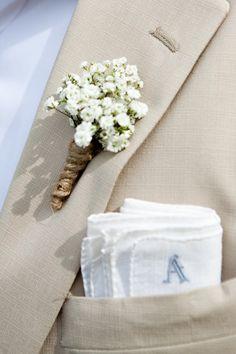 Bruidegom - Corsage van gipskruid
