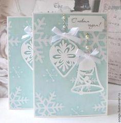 Новогодняя открытка Елочные игрушки - Открытка ручной работы,открытка