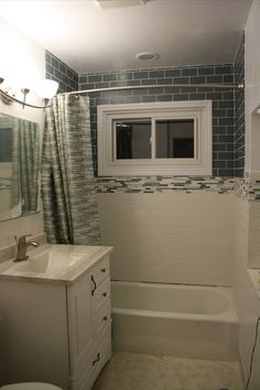 glass tiles, bathrooms, kitchens | ... and After Bathroom Remodel With Glass Tile | Subway Tile Outlet Blog