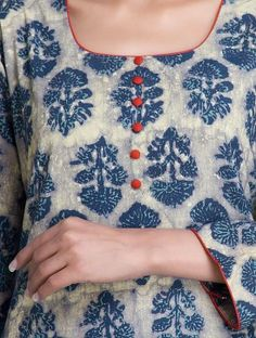 Love the contrast piping. Blue Dabu Printed Cotton Kurta by Lavanya Chudidhar Designs, Chudidhar Neck Designs, Salwar Neck Designs, Kurta Neck Design, Neck Designs For Suits, Neckline Designs, Kurta Designs Women, Dress Neck Designs, Printed Kurti Designs