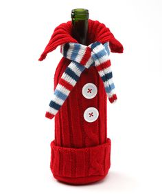 Red & Blue Knit Sweater Wine Bottle Cover