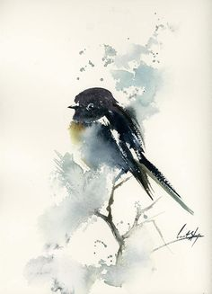 One of a Kind Watercolour Artwork by CanotStopPainting Bird Original Watercolor Painting, Black Bird and Abstract Background, Bird Painting, Bird Art, Bird Watercolour Art, Painting of Bird Size: 9x12.2 Medium: top branded watercolor paints on Saunders Waterford rough watercolor paper,