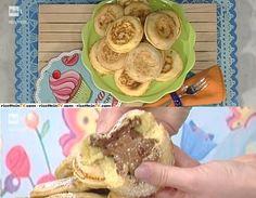 """La ricetta sprint dei mini pancakes di crema alla nocciola de """"La prova del cuoco"""" del 31 marzo 2017. Un dolcetto goloso ed originale."""