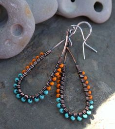 Elongated Wire Wrapped Oxidized Copper Earrings by BesoDelCorazon, $25.00