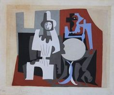 PIERROT ET ARLEQUIN À LA TERASSE DU CAFÉ, 1920 Pablo Picasso