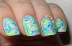 Zoendout Nails: Watercolors nail art in purple, blue, gray, neon yellow and neon green
