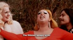 """""""The filthiest people alive!"""" - Divine Mary Vivian Pearce (as Cotton), Divine (as Divine/Babs Johnson) and Danny Mills (as Crackers). Danny Mills, Best Drag Queens, John Waters, Rupaul, Film Stills, Cry Baby, Forgive, Pink Flamingos, Cricut Ideas"""