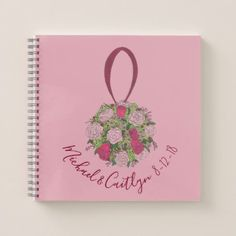 Personalized Pink Wedding Bouquet Flower Rose Notebook - party gifts gift ideas diy customize