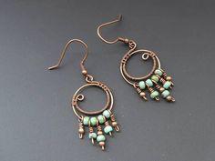 Copper hoop earrings wire wrapped jewelry wire jewellery
