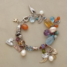 """COLLECTOR'S CHARM BRACELET--Jes MaHarry's collector's edition is full of gemstones including carnelian, citrine, aquamarine, topaz, spinel, chalcedony, amethyst, cultured pearls with sterling silver and 14kt gold and 14kt rose gold charms etched with """"reach,"""" """"break all boundaries,"""" """"shine on,"""" """"happy,"""" """"believe in you."""" Hook clasp. Exclusive. Handmade in USA. 7"""" to 7-1/2""""L."""